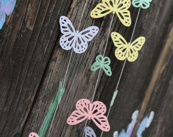 Spring Pastel Butterflies Paper Garland - Easter, Baby Shower, Party Decorations