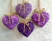 Purple Heart Ornaments - Set of 4 - Reversible -- N0.1