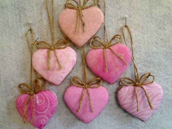 Pink / Mauve Heart Ornaments - Set of 6 - Reversible -- N0.1