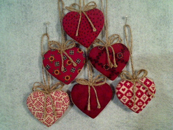 Heart Ornaments Cranberry and Burgundy - Set of 6 - Reversible -- N0.1