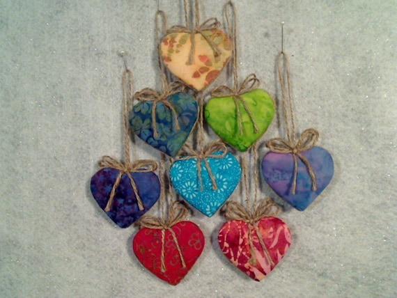 Batik Heart Ornaments - Set of 8 - Reversible -- N0.1