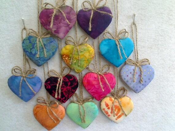 Heart Ornaments - BATIK - Set of 12 - Reversible -- N0.1