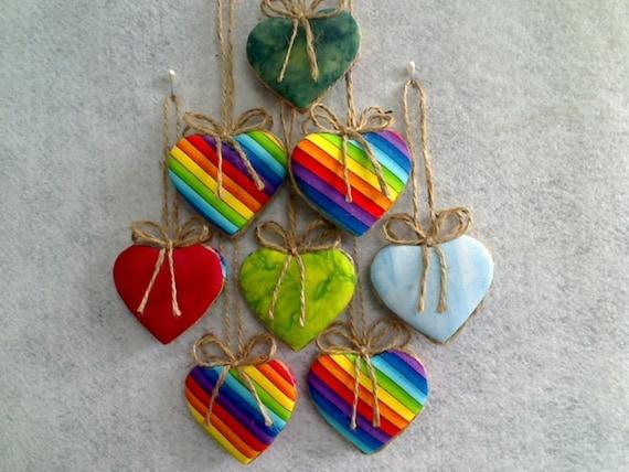 Heart Ornaments - RAINBOWs & BATIK -  Set of 8 - Reversible -- N0.1