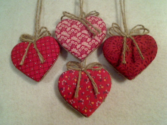 Red Heart Ornaments - Set of 4 - Reversible -- N0.2