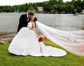 Elegant White Cathedral Wedding Veil with White Satin Cord Edge Bridal Veil 108 Inches Long 108 Inches Wide 52953