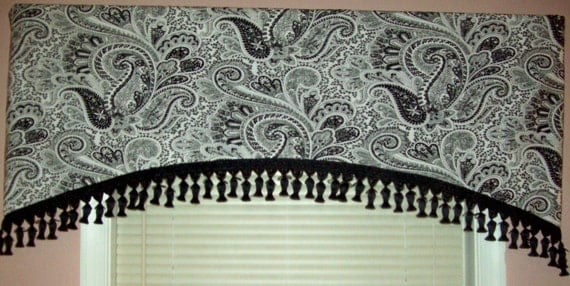 Ready to Ship Beautiful Black and White Paisley Arched Valance With Tassel Trim SALE