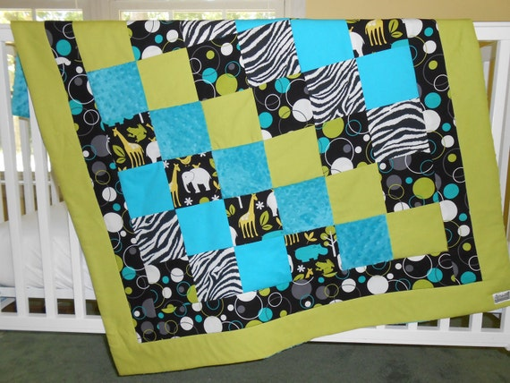 SALE Zoology Baby Quilt in Lagoon and Zebra Ready to Ship