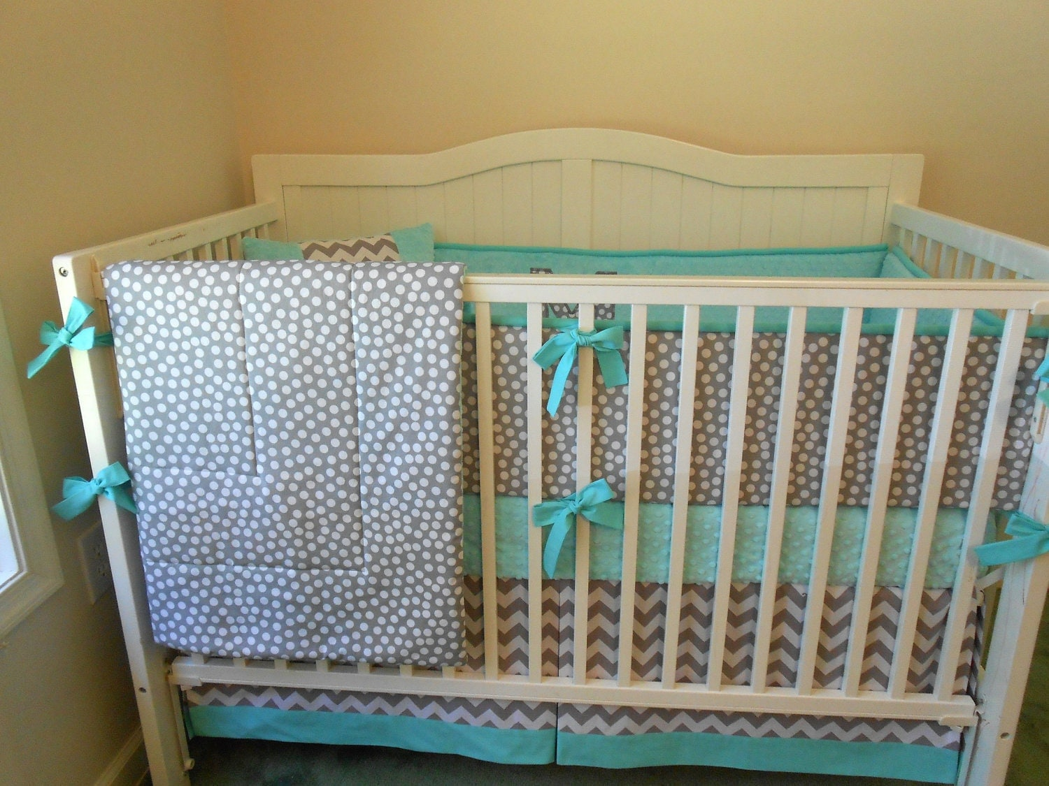 reserved modern gray and aqua crib bedding