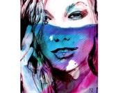 Art Watercolor Print Woman Face 5/100