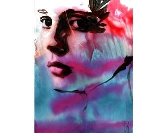 Art Print Watercolor Face Woman 11/100