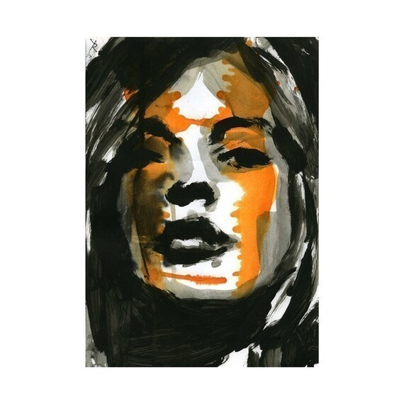 butterfly illustration watercolor orange Portrait Print Fine Art Hand Signed ink original mixed media face girl 23/100