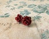 Small Flower Pierced Stud Earrings : burgundy wine / dark red rosebuds, surgical steel posts for sensitive ears