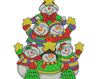 Snowmen Christmas Tree Machine Embroidery Design 5X7