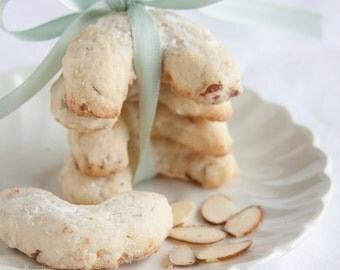 Almond Crescent Cookies - 2 dozen festive homemade cookies