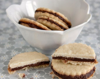 Chocolate Ganache Filled Vanilla Bean Sandwich Cookies - 2 dozen homemade cookies