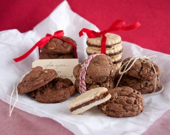 Valentines Chocolate Cookie Sampler - 2 1/2 dozen fresh baked homemade cookies