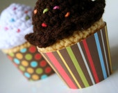 Printable stripes and dots fall colored cupcake wrappers perfect for baby showers & birthday parties