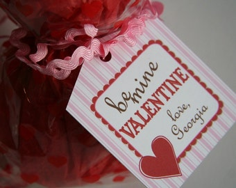 Printable personalized Valentines Day gift tags\/goodie bag tags