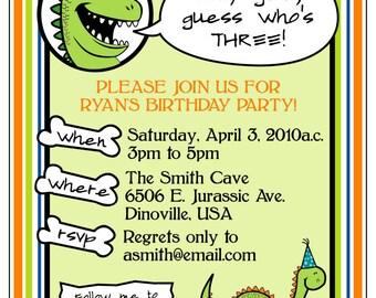 PRINTABLE DINOSAUR-THEMED birthday or baby shower invitation