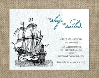PRINTABLE Ship themed MOVING ANNOUNCEMENT