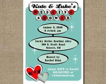 PRINTABLE RETRO themed couples wedding shower invitation