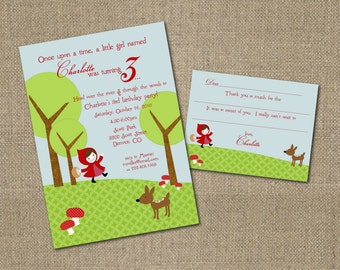 PRINTABLE Little Red Riding Hood themed invitation and fill-in-the-blank thank you note