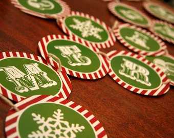 DIY red and green Christmas garland printables