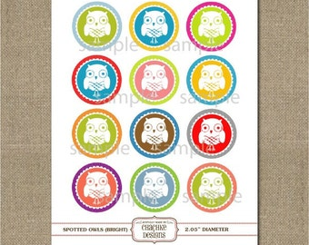 OWL themed PRINTABLE collage sheet - 2 IN circles for scrapbooking, crafts, cupcake toppers and more