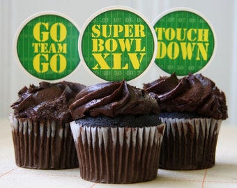 Printable football Super Bowl themed cupcake toppers, food picks, scrapbooking embellishments and more