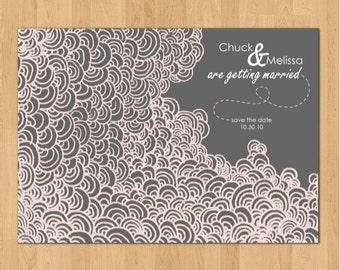 Printable Dreamy Clouds Save-the-Date customized with your text and color scheme