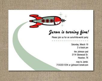 PRINTABLE Retro rocket baby shower or party invitation