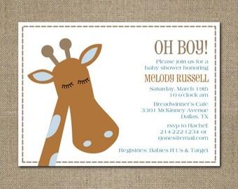 PRINTABLE modern GIRAFFE themed baby boy shower or birthday party invitation