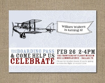 PRINTABLE Vintage Airplane birthday party or baby shower invitation