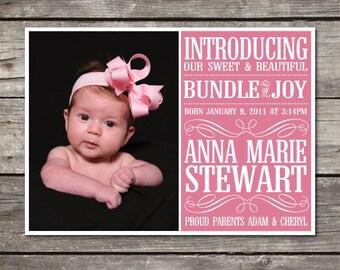 Printable Modern Typeface 5X7 custom photo Baby Girl Birth Announcement