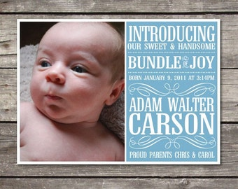 Printable Modern Typeface 5X7 custom photo Baby Boy Birth Announcement