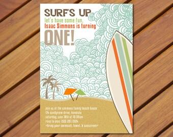 PRINTABLE Vintage Beach Surf themed birthday party invitation