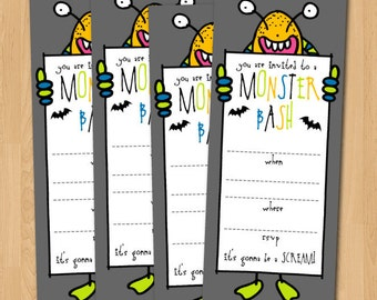 PRINTABLE 3x9 Fill-in-the-blank Monster Bash Halloween Party Invitation