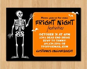 printable skeleton halloween party invitation or evite - Evite Halloween Party