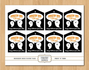 Printable Personalized Cute Ghost themed party favor or goody bag tags