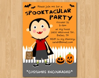 PRINTABLE Vampire Boy Halloween Party Invitation or Evite