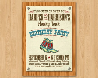 PRINTABLE Honky Tonk themed party invitation or Evite