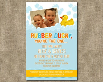 PRINTABLE 4x6 Rubber Ducky-themed baby shower or birthday party invitation