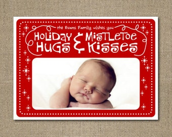 Printable custom Christmas photo greeting card