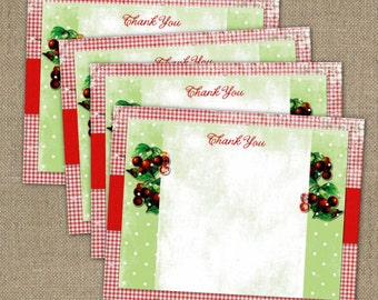 PRINTABLE Red Cherries Shabby Chic Thank you notes