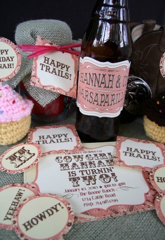 PRINTABLE COWGIRL-themed party pack - invitations, cupcake toppers/stickers, favor tags, drink labels