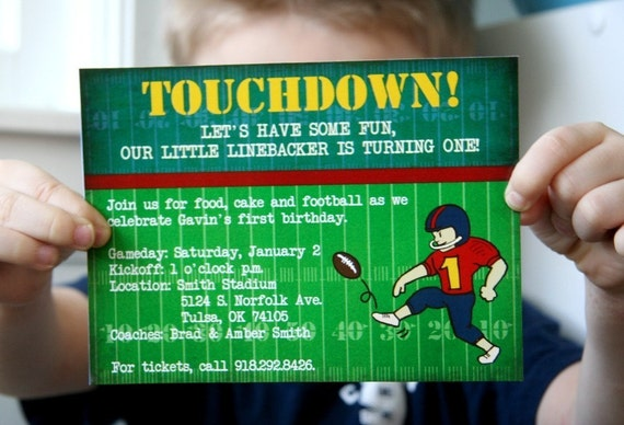 PRINTABLE FOOTBALL-themed party pack - invitations, thank you notes, cupcake toppers, bottle tags, straw tags, bunting