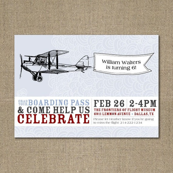 Printable Vintage Airplane Party Collection Diy By: Items Similar To PRINTABLE Vintage Airplane Birthday Party