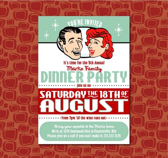 PRINTABLE RETRO Dinner Party or Couples Wedding Shower Invitation