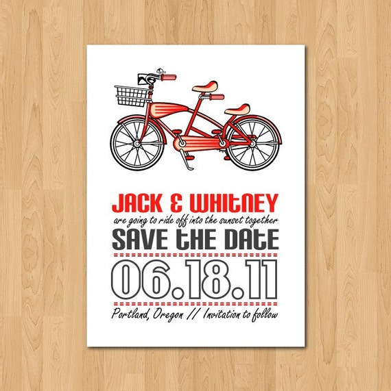 PRINTABLE Retro Bicycle Built for Two Save the Date