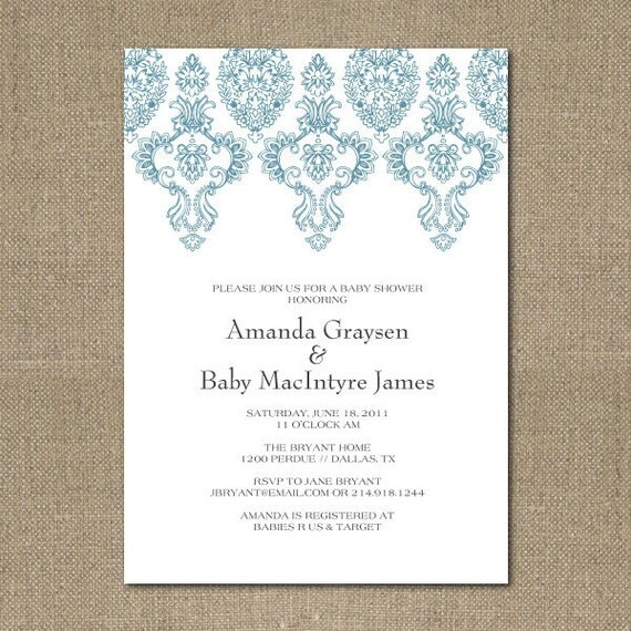 PRINTABLE simple baby shower or bridal shower invitation